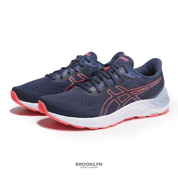 ASICS 慢跑鞋 GEL-EXCITE 8 寬楦 深藍 粉橘 女(布魯克林) 1012A915409