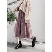 金絲絨半身裙 波點半身裙女秋冬季金絲絨冬天配毛衣冬裙加絨加厚紗裙半身長裙子 晶彩