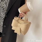韓版小眾設計2021新款潮蝴蝶結手提女包百搭單肩腋下包斜挎小方包 蘇菲小店