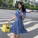 清倉$388 韓系修身顯瘦綁帶雪紡短袖洋裝