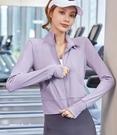 瑜伽服 運動上衣女高彈顯瘦緊身瑜伽服速干t恤網紅跑步健身房長袖春款-【快速出貨八折下殺】