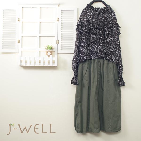 J-WELL 荷葉印花上衣小釦子造型裙二件組(組合A355 8J1388黑+8J1568綠)