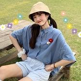 短袖襯衫女夏季2021年新款泫雅風寬鬆翻領單排扣中長款學生襯衣潮