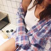 梨卡 - 日系初秋新款復古格紋格子防曬薄款長袖襯衫/2色B970