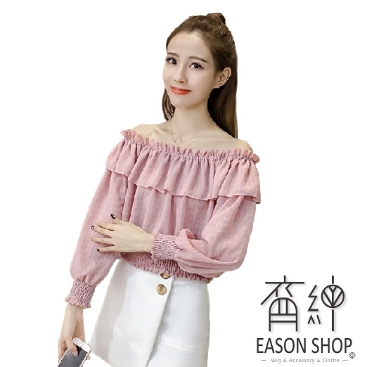 EASON SHOP(GW3304)韓版氣質一字領木耳花邊短版腰間縮腰長袖雪紡襯衫女上衣服平口顯瘦內搭衫閨蜜裝