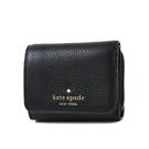 美國正品 KATE SPADE 金字荔枝紋皮革三折釦式短夾-黑色【現貨】