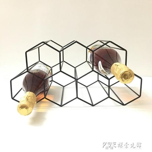 黑色蜂巢金屬酒架簡約客廳酒架擺件創意7孔蜂巢紅酒架