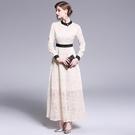--實拍 歐美新款 名媛氣質蕾絲連衣裙 修身大擺禮服裙