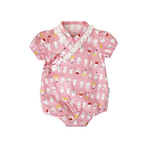 短袖包屁衣 和服造型 三角包屁衣 女寶寶 爬服 爬衣 哈衣 80070