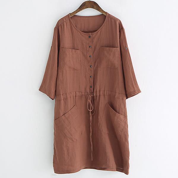 排釦貼口袋繫帶連身裙洋裝【88-16-8345-0192-18】ibella 艾貝拉