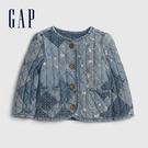 Gap嬰兒 復古風格印花開襟圓領棉服 601998-牛仔藍