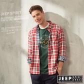 【JEEP】經典雙色格紋長袖襯衫(紅格紋)