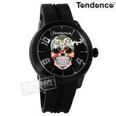 Tendence 天勢表 / TY013503 / 墨西哥骷髏系列 弧型礦石強化玻璃 防水100米 矽膠手錶 黑色 47mm
