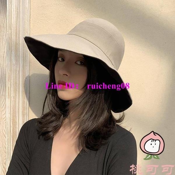 日系漁夫帽子百搭復古寬檐遮臉顯臉小防曬薄款盆帽【桃可可服飾】