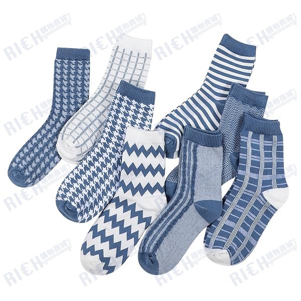 襪子女中筒襪韓版學院風中襪秋冬韓國條紋短襪簡約湖藍色棉襪女