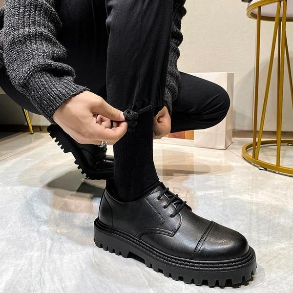 馬丁靴男款 馬丁鞋男士低幫英倫風韓版潮流百搭黑色商務休閑男鞋圓頭厚底皮鞋