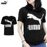 Puma 流行系列 LOGO 女 黑 短袖上衣 運動上衣 短T 休閒 短袖 T恤 57628851