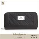 Kinloch Anderson 金安德森 皮夾 英國女爵  黑色 菱格壓紋長夾 女夾  KA156101 MyBag得意時袋
