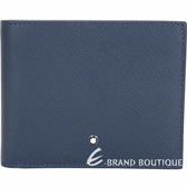 Mont Blanc 萬寶龍 匠心系列粒面小牛皮六卡對折短夾(深藍色) 1840706-34