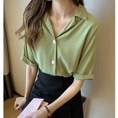 中大尺碼上衣 大碼胖MM夏季薄款洋氣襯衫女設計感小眾輕熟心機上衣寬鬆顯瘦襯衣 艾維朵