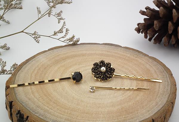 韓國直購 髮飾 時尚黑晶花朵髮夾 i917ღ