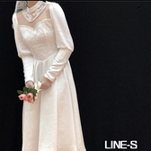 Mimo dk2020春刺繡網紗西式高領收藏級古董蕾絲輕婚紗洋裝c