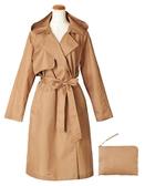 【京之物語】日本品牌because風衣式米色成人雨衣 輕便雨衣