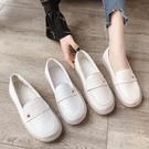 護士鞋女軟底2021新款夏季平底一腳蹬百搭豆豆單鞋孕婦小白鞋瓢鞋 【端午節特惠】