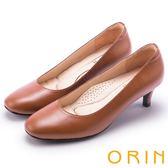 ORIN 典雅時尚女人 嚴選牛皮百搭素面高跟鞋-棕色