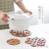 竹制圓形隔熱墊防燙墊子家用廚房餐桌墊【櫻田川島】