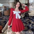 紅色洋裝2020秋季新款連身裙爆款法式氣質收腰顯瘦中長款蝴蝶結長袖裙子女 衣間迷你屋