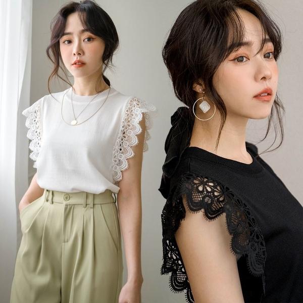 MIUSTAR 顯瘦蕾絲袖針織上衣(共2色)【NJ0797】預購