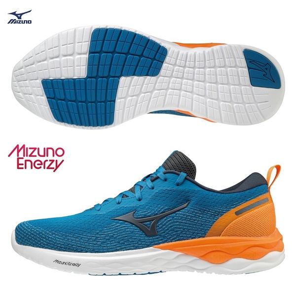 MIZUNO WAVE REVOLT 男鞋 慢跑 路跑 ENERZY中底 回彈 耐磨 藍黃【運動世界】J1GC208146