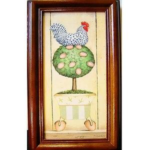 《金雞下蛋(黃)》直式原木鑰匙盒keybox壁飾寬x高19x31cm厚度6.5cm