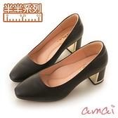 amai《半半系列》MIT台灣製造。羊皮方頭金屬粗跟鞋 黑