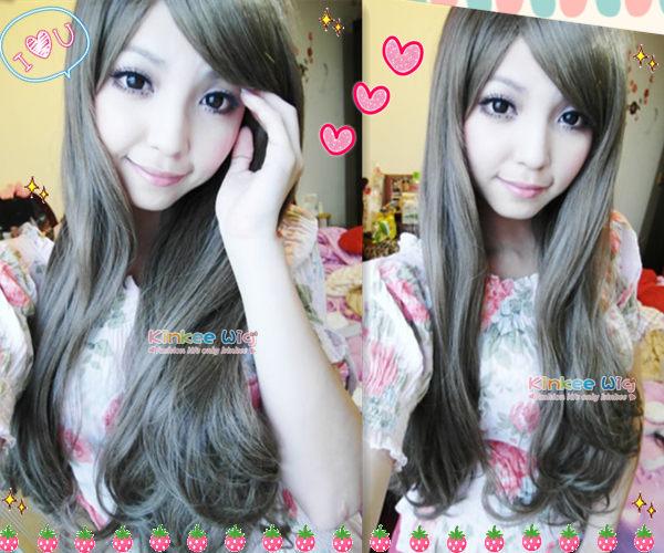 *╮Kinkee假髮╭* 日本A牌 微甜幸福女孩風旁分層次微彎耐熱長捲髮假髮【A0006】