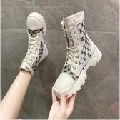 短靴 馬丁靴女夏季黑色薄款短靴網紅百搭透氣英倫風厚底夏天鏤空涼靴潮 交換禮物
