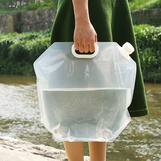 水袋 儲水袋 塑料袋 裝水袋 基本5L 蓄水 折疊袋 登山 加龍頭 旅行 折疊手提儲水袋【R047】慢思行