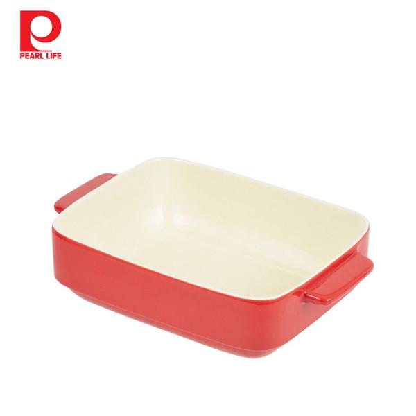 【日本珍珠金屬】長形耐熱深形焗烤盤-熱情紅24x19cm