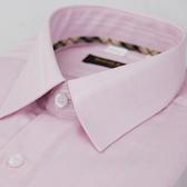 【金‧安德森】經典格紋繞領粉色暗紋長袖襯衫