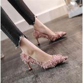 鞋子女學生正韓女鞋高跟鞋女細跟夏季尖頭黑色貓跟單鞋女