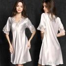 睡衣 新款絲質性感睡衣女大碼女士家居服仿真絲睡裙夏季 冰絲薄款 16原本