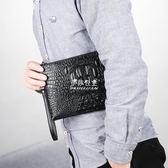 手拿包男韓版潮包鱷魚紋手包男士包手抓包個性青年信封包『伊莎公主』