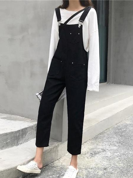 黑色背帶褲女新款 秋季韓版寬鬆吊帶牛仔褲 顯瘦直筒休閒褲子