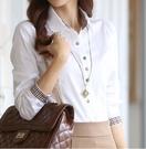 特惠大尺碼!襯衫女長袖2020秋裝新款職業裝女裝修身上衣韓版氣質格子拼接襯衣