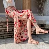 韓版長裙碎花性感開叉半身裙女2020夏夏天新款高腰顯瘦氣質沙灘裙 LR22692『毛菇小象』