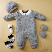 【金安德森】新生兒禮盒-秋冬提花小熊(五件組)-灰色