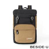 【BESIDE-U】 HALCYON系列翻蓋雙扣休閒後背包 - 黑色