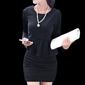 洋裝-荷葉邊新款韓版時尚秋裝修身修臀塑身長袖包臀連身裙3色71ar15[巴黎精品]