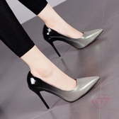 高跟鞋 漸變色尖頭高跟鞋細跟性感時尚正韓工作鞋子拼色淺口單鞋7CM10CM 2色可選